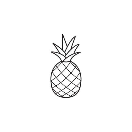 Pineapple and ananas line icon, healthy fruit, vector graphics, a linear pattern on a white background, eps 10.