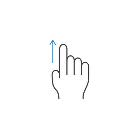 Swipe up finger line icon, touch and hand gestures, vector graphics, a color linear pattern on a white background, eps 10. Illustration
