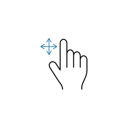 Grab finger line icon, touch and hand gestures, vector graphics, a color linear pattern on a white background, eps 10.  イラスト・ベクター素材