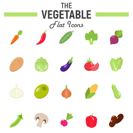 Vegetable flat icon set, food symbols collection, vegetarian vector sketches, logo illustrations, colorful solid pictograms package isolated on white background, eps 10. Illustration