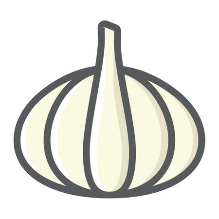 Garlic colorful line icon, vegetable and diet, vector graphics, a filled pattern on a white background, eps 10.