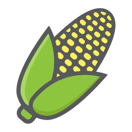 sweetcorn: Corn colorful line icon, vegetable and maize, vector graphics, a filled pattern on a white background, eps 10. Illustration