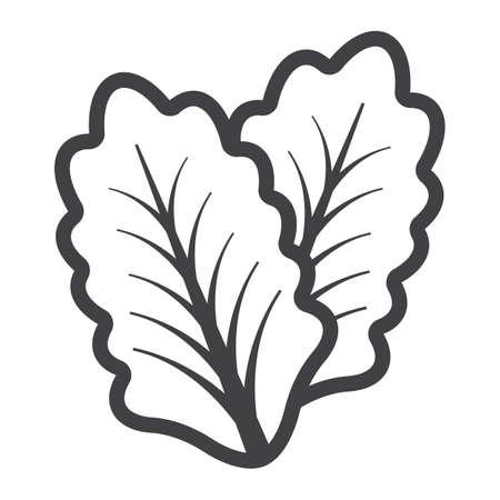 Het pictogram van de slalijn, groente en saladeblad, vectorgrafiek, een lineair patroon op een witte achtergrond, eps 10.