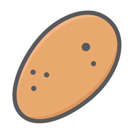 heap: Potato colorful line icon, vegetable and diet, vector graphics, a filled pattern on a white background, eps 10.