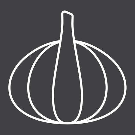 Garlic line icon, vegetable and diet, vector graphics, a linear pattern on a black background, eps 10.