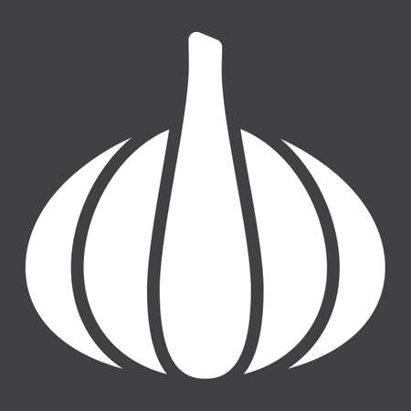 Garlic solid icon, vegetable and diet, vector graphics, a glyph pattern on a black background, eps 10. Illustration