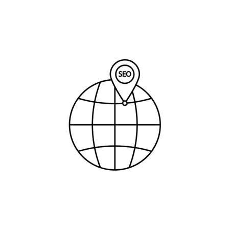 localization: Local seo icon, globe with pin symbol, vector graphics, a linear pattern on a white background
