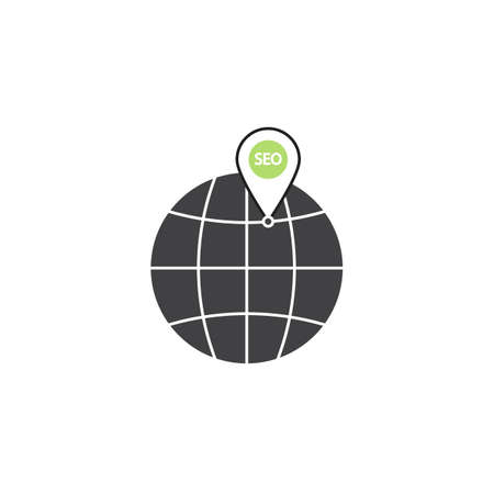 localization: Local seo symbol, globe with linear colorful icon, pictogram on a white background, vector illustration