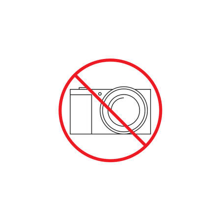 No camera line icon, no photo red prohibited sign, vector graphics, a linear color pattern on a white background, eps 10.