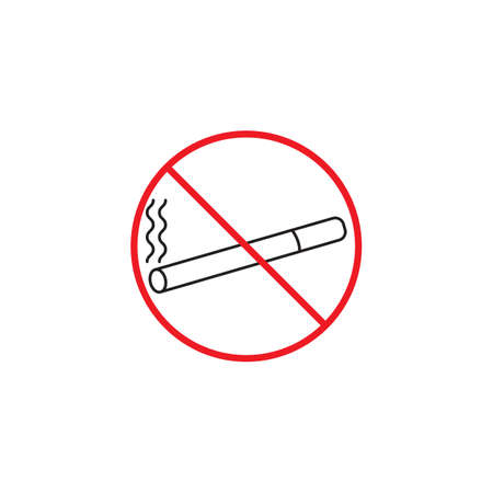 No smoking line icon, red prohibited sign, vector graphics, a linear color pattern on a white background, eps 10. Illustration
