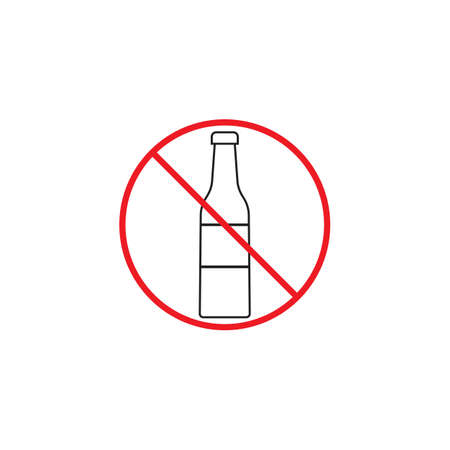 spirituous: No alcohol line icon, red prohibited sign, vector graphics, a linear color pattern on a white background, eps 10.