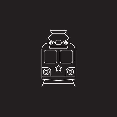 tram icon, public transport symbol vector graphics, a linear pattern on a black background, eps 10.