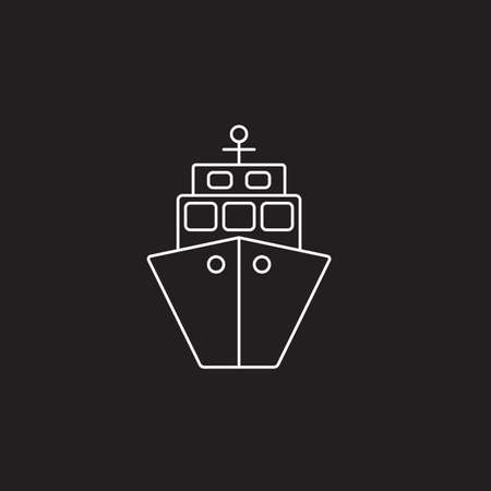 ship icon, transport symbol vector graphics, a linear pattern on a black background, eps 10.