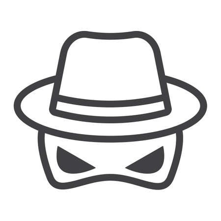 Spy line icon, incognito and agent, vector graphics, a linear pattern on a white background, eps 10.
