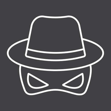 inspector: Spy line icon, incognito and agent, vector graphics, a linear pattern on a black background, eps 10.