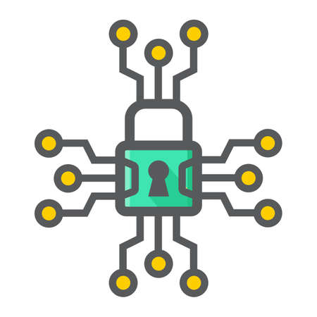 filled: Cyber security colorful line icon, padlock and security, vector graphics, a filled pattern on a white background, eps 10. Illustration