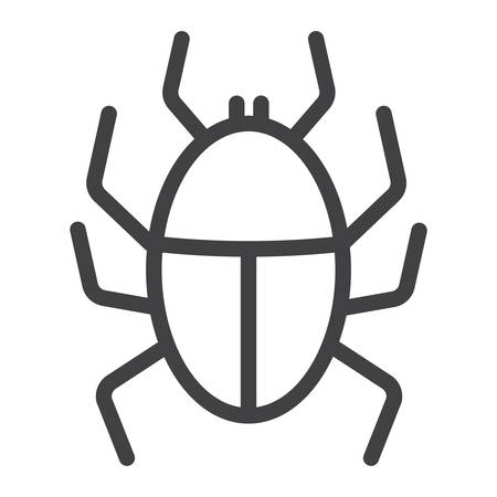 Virus line icon, infection and security, vector graphics, a linear pattern on a white background.