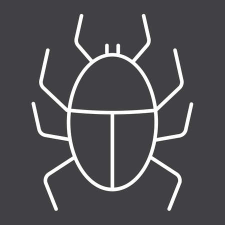 Virus line icon, infection and security, vector graphics, a linear pattern on a black background. Illustration