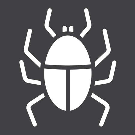 Virus solid icon, infection and security, vector graphics, a glyph pattern on a black background. Illustration