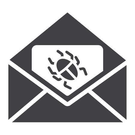 detected: Virus in email solid icon, spam and security, vector graphics, a glyph pattern on a white background.