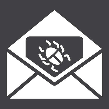 Virus in email solid icon, spam and security, vector graphics, a glyph pattern on a black background. Illustration
