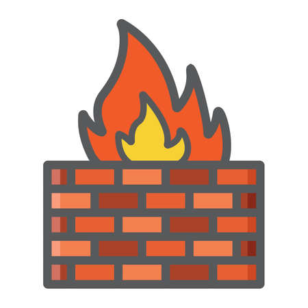 to warn: Firewall colorful line icon, security and brick wall, vector graphics, a filled pattern on a white background, eps 10.