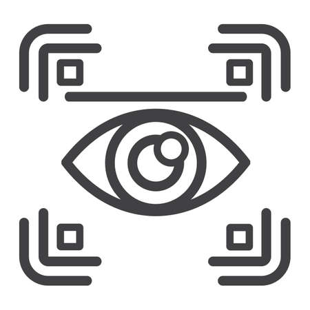 Eye scan line icon, security and iris scanner, vector graphics, a linear pattern on a white background, eps 10.
