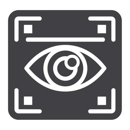 Eye scan solid icon, security and iris scanner, vector graphics, a glyph pattern on a white background, eps 10. Ilustração