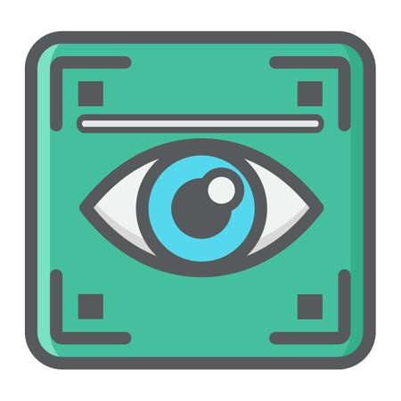 Eye scan colorful line icon, security and iris scanner, vector graphics, a filled pattern on a white background, eps 10.