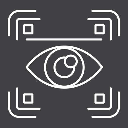 Eye scan line icon, security and iris scanner, vector graphics, a linear pattern on a black background, eps 10.