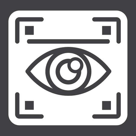 Eye scan solid icon, security and iris scanner, vector graphics, a glyph pattern on a black background, eps 10. Ilustração