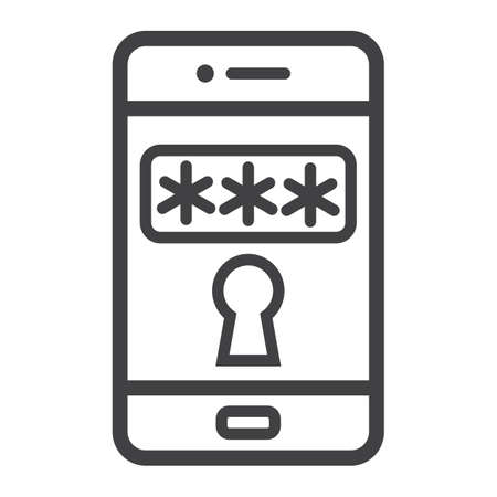 smartphone business: Mobile security line icon, security and smartphone, padlock vector graphics, a linear pattern on a white background, eps 10. Illustration