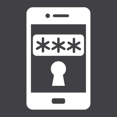 smartphone business: Mobile security solid icon, security and smartphone, padlock vector graphics, a glyph pattern on a black background, eps 10.