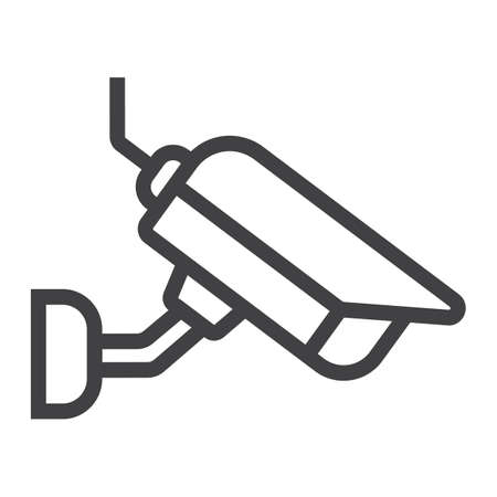 observation: Surveilance camera line icon, security and cctv, vector graphics, a linear pattern on a white background, eps 10. Illustration
