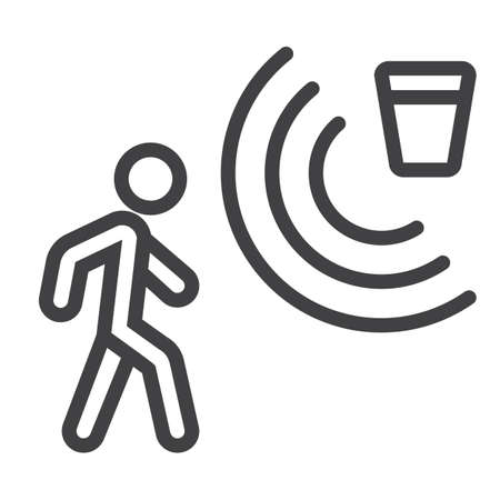 Motion detector line icon, security and guard, vector graphics, a linear pattern on a white background Illustration