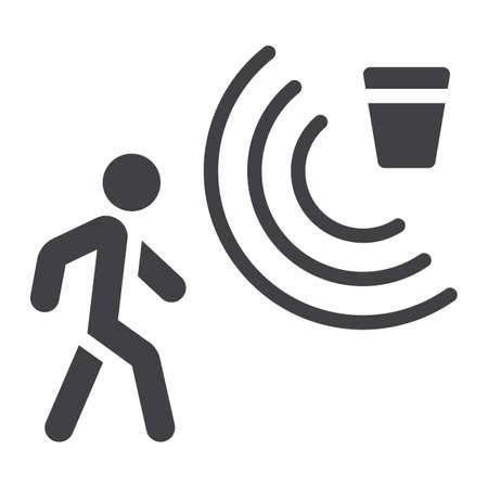Feste Ikone des Bewegungsdetektors, Sicherheit und Schutz, Vektorgrafik, ein Glyphmuster auf einem weißen Hintergrund Standard-Bild - 80500504
