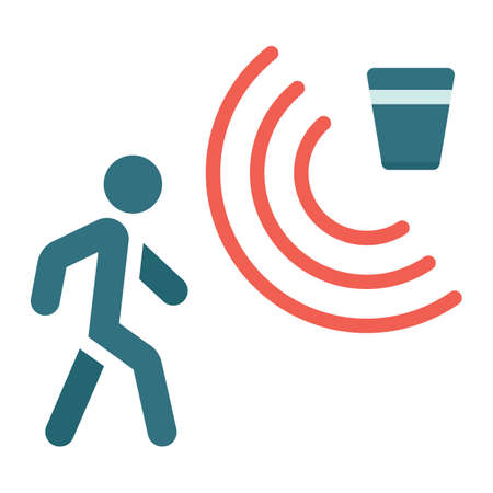 Motion detector flat icon, security and guard, vector graphics, a colorful solid pattern on a white background.