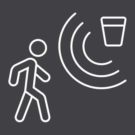 Motion detector line icon, security and guard, vector graphics, a linear pattern on a black background. Illustration