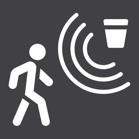 Motion detector solid icon, security and guard, vector graphics, a glyph pattern on a black background, eps 10.