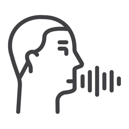 Speech recognition line icon, voice control and security, vector graphics, a linear pattern on a white background, eps 10.