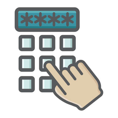 Hand finger entering pin code colorful icon, unlock and password, vector graphics, a filled pattern on a white background, eps 10. 向量圖像
