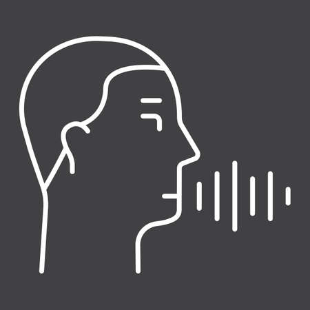 rounded circular: Speech recognition line icon, voice control and security, vector graphics, a linear pattern on a black background, eps 10.