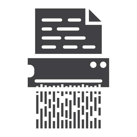 cut paper: Document shredder solid icon, destroy file and confidential, vector graphics, a glyph pattern on a white background, eps 10. Illustration