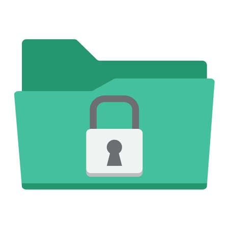 Secure data folder flat icon, security and padlock, vector graphics, a colorful solid pattern on a white background, eps 10. Illustration