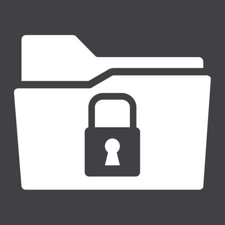 classified: Secure data folder solid icon, security and padlock, vector graphics, a glyph pattern on a black background, eps 10.