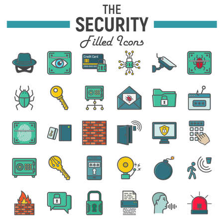 Security colorful line icon set, cyber protection symbols collection, safety vector sketches, logo illustrations, filled pictograms package isolated on white background, eps 10. Illustration
