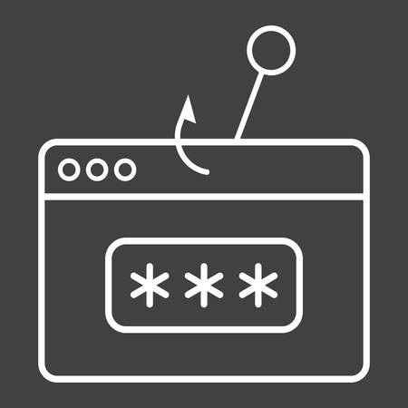 secret codes: Password phishing line icon, security and hack, vector graphics, a linear pattern on a black background, eps 10.