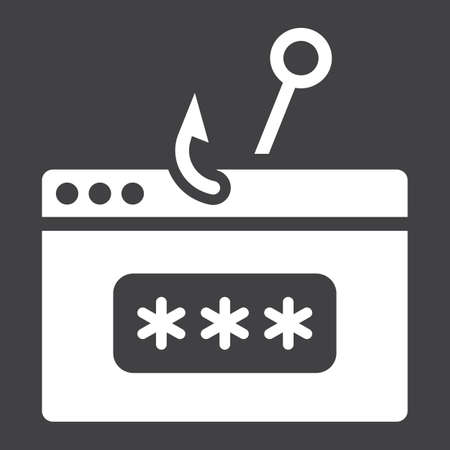 Password phishing solid icon, security and hack, vector graphics, a glyph pattern on a black background, eps 10. Illustration