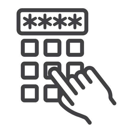 De handvinger die het pictogram van de pincodeleiding ingaan, opent en wachtwoord, vectorgrafiek, een lineair patroon op een witte achtergrond, eps 10.