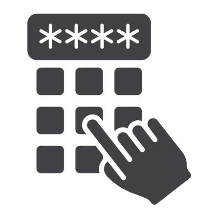 secret codes: Hand finger entering pin code solid icon, unlock and password, vector graphics, a glyph pattern on a white background, eps 10. Illustration